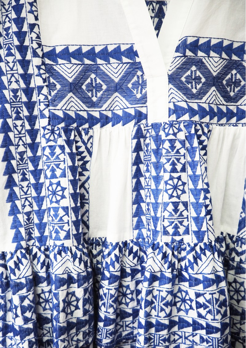 KORI Embroidered Cotton Top - White & Blue main image