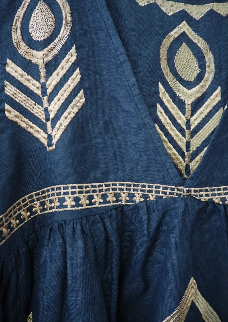 KORI Embroidered Linen Top - Navy & Gold main image