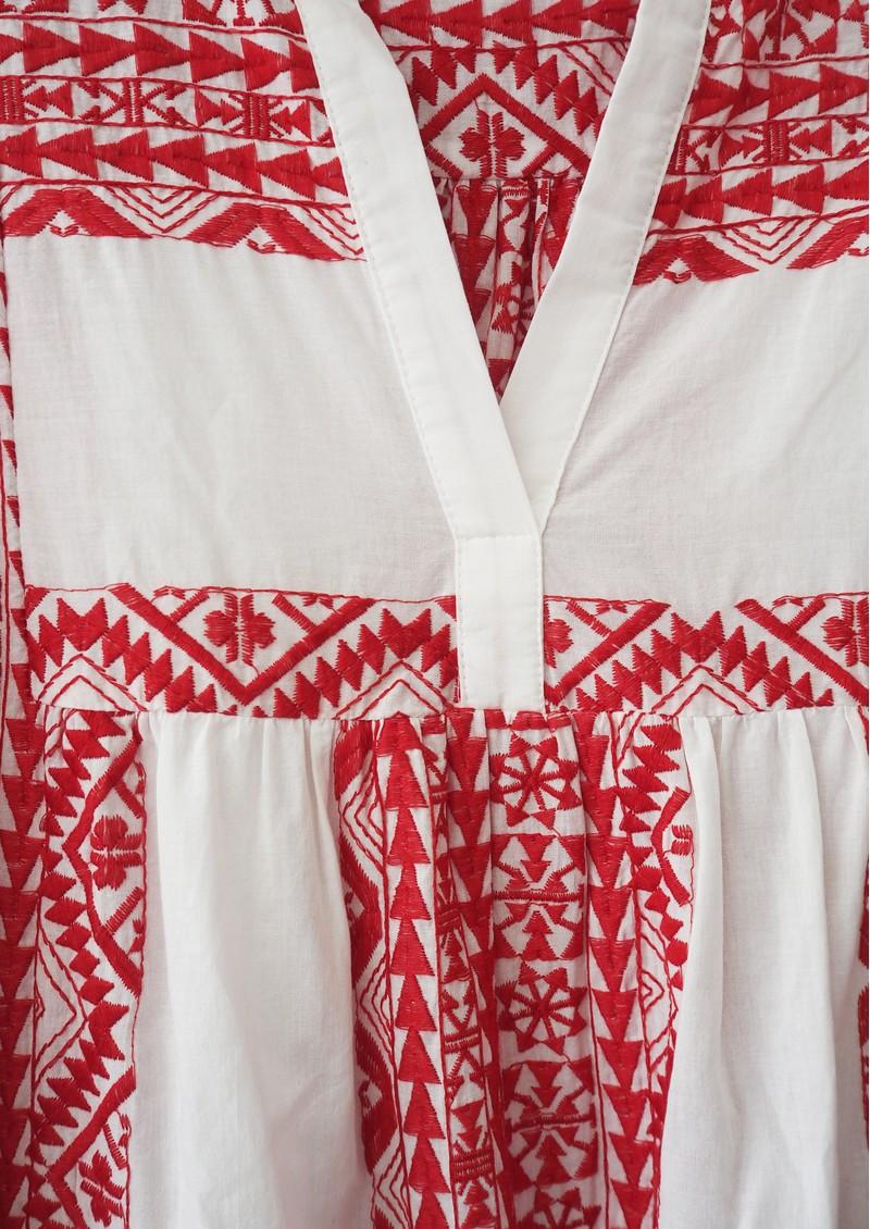 KORI Embroidered Cotton Dress - White & Red main image