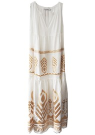 KORI Embroidered Linen Dress - White & Gold
