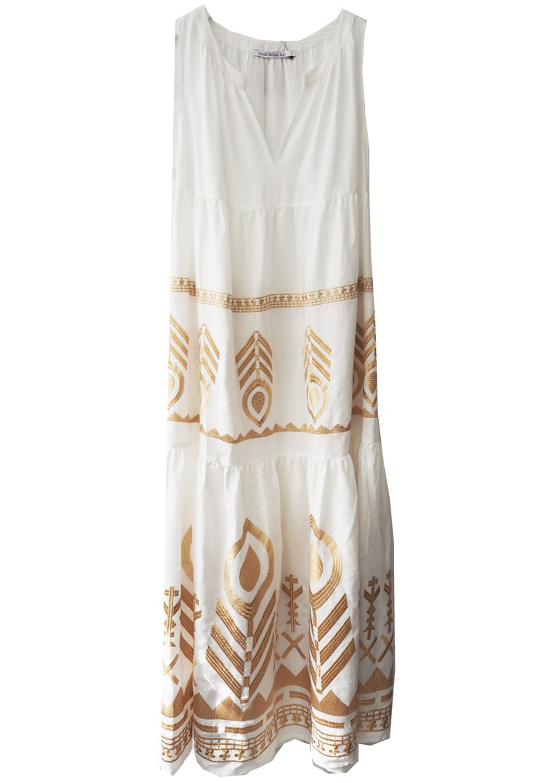 KORI Embroidered Linen Dress - White & Gold main image