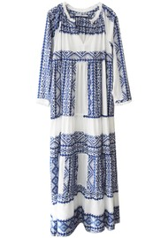 KORI Embroidered Cotton Maxi Dress - White & Blue