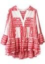 KORI Embroidered Cotton Top - White & Red