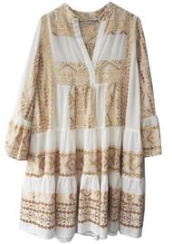 KORI Embroidered Cotton Dress - White & Gold