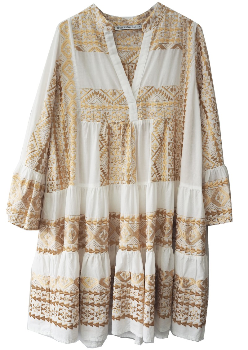 Embroidered Cotton Dress - White & Gold main image