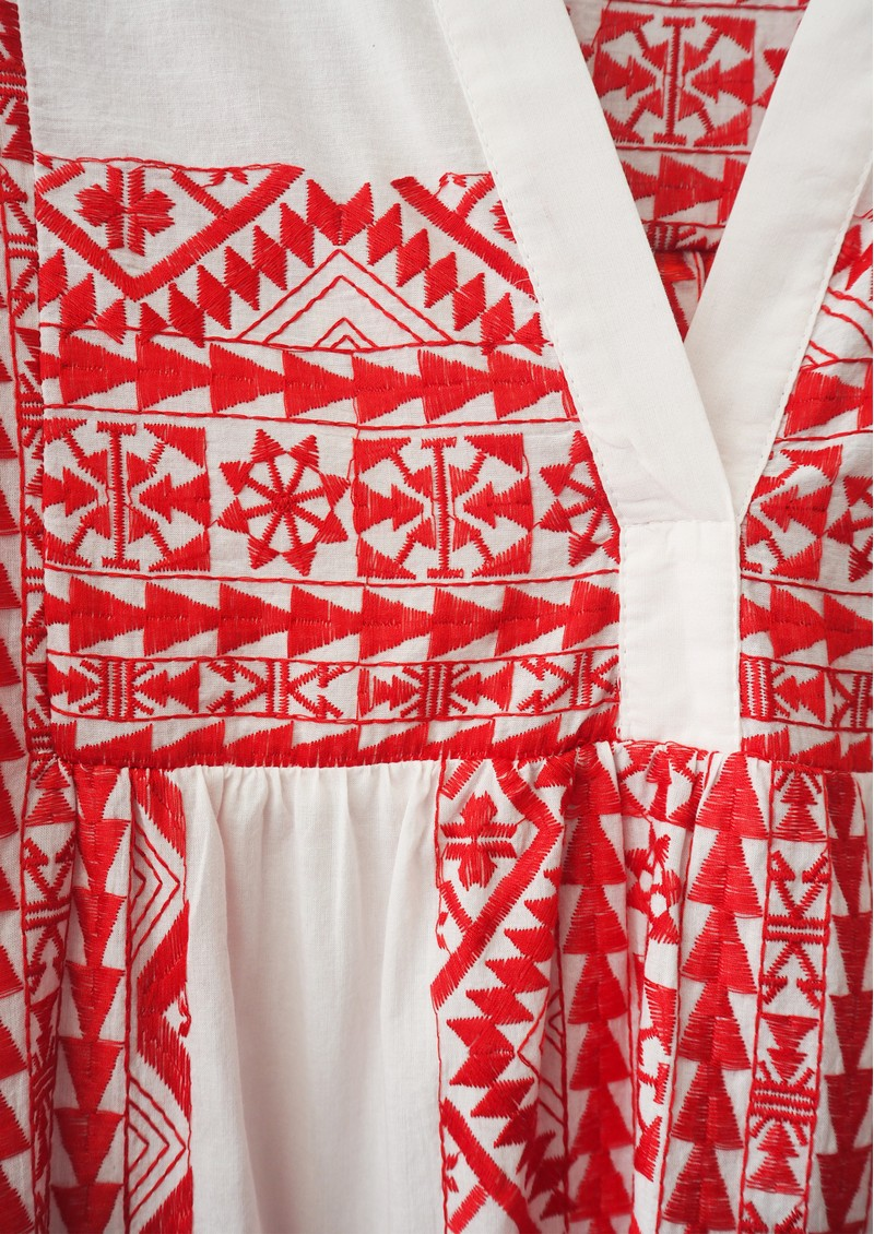 KORI Embroidered Cotton Top - White & Red main image