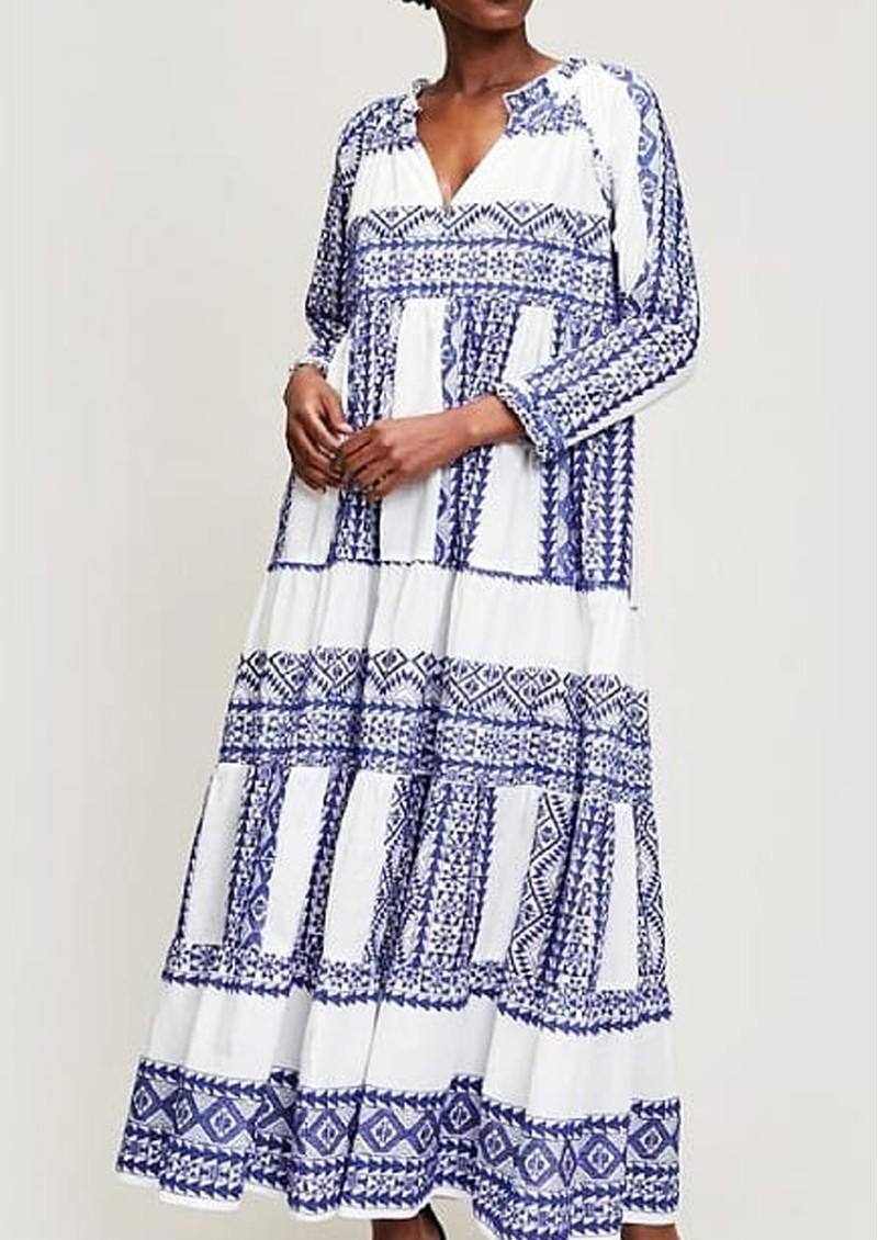 KORI Embroidered Cotton Maxi Dress - White & Blue main image