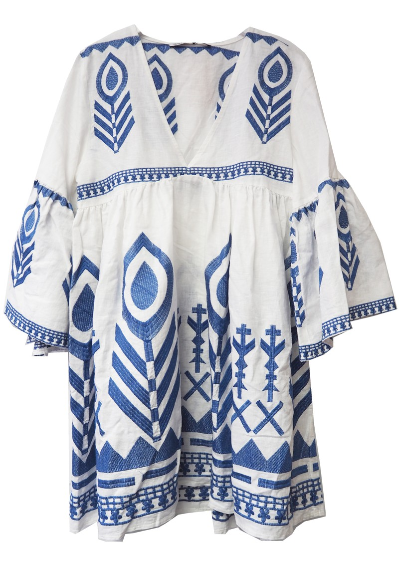 Embroidered Linen Dress - White & Blue  main image