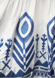 KORI Embroidered Linen Dress - White & Blue
