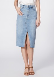 Paige Denim Meadow Midi Denim Skirt - Tipton