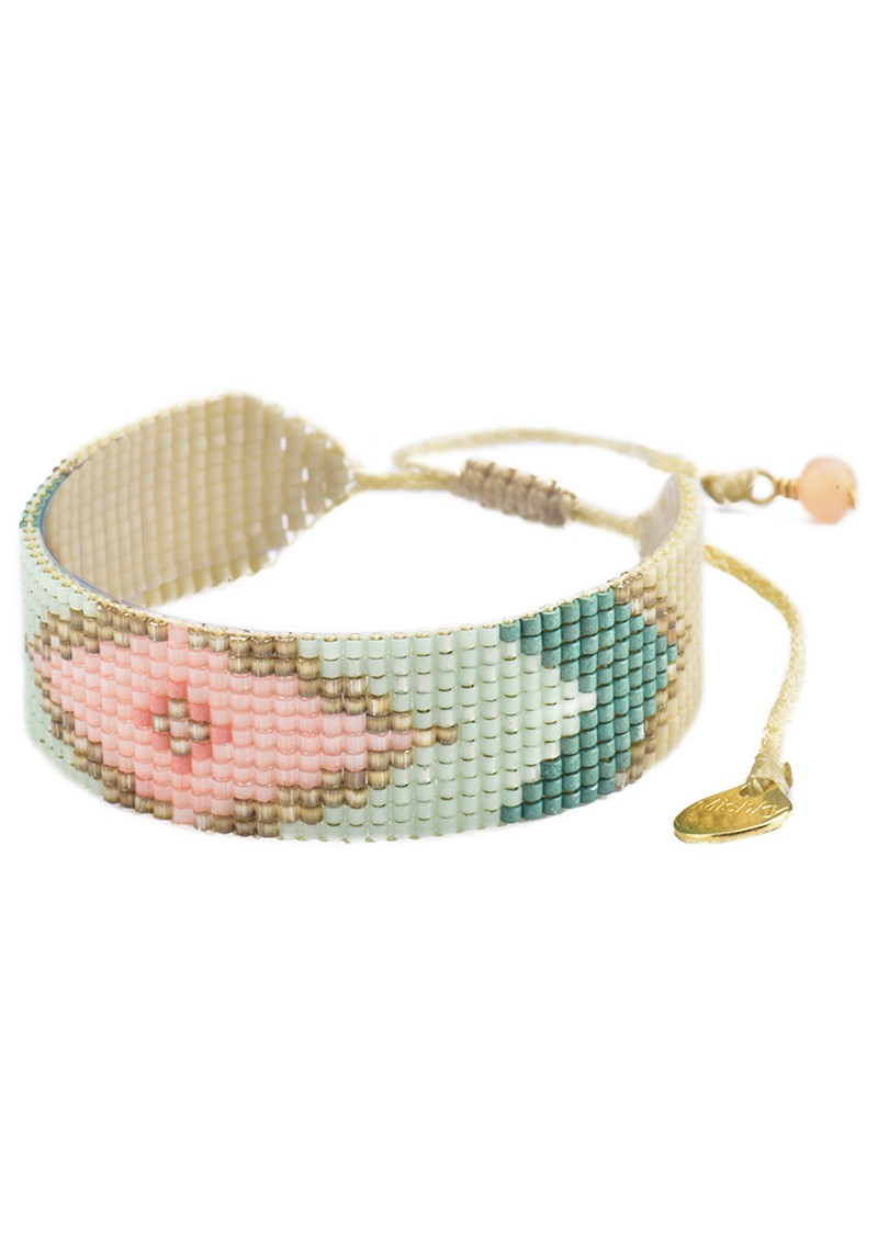 MISHKY Peeky Beaded Bracelet - Pink & Mint main image