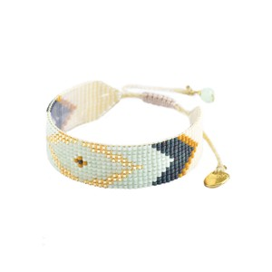 Peeky Beaded Bracelet - Mint & Mustard