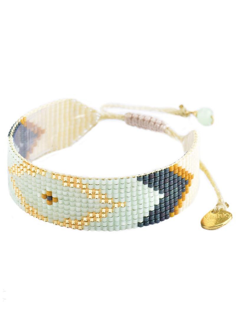 MISHKY Peeky Beaded Bracelet - Mint & Mustard main image