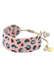 MISHKY Panthera Beaded Bracelet - Pink & Turquoise