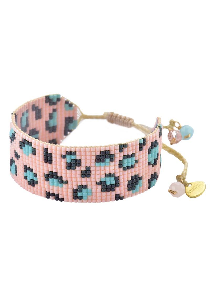 MISHKY Panthera Beaded Bracelet - Pink & Turquoise main image
