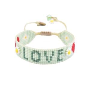 Love Beaded Bracelet - Mint Green
