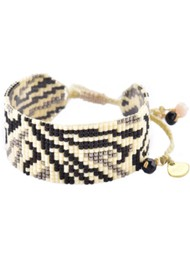 MISHKY Zeb Beaded Bracelet - Black, White & Grey