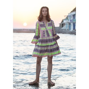 Ella Short Embroidered Dress - Pink & Neon