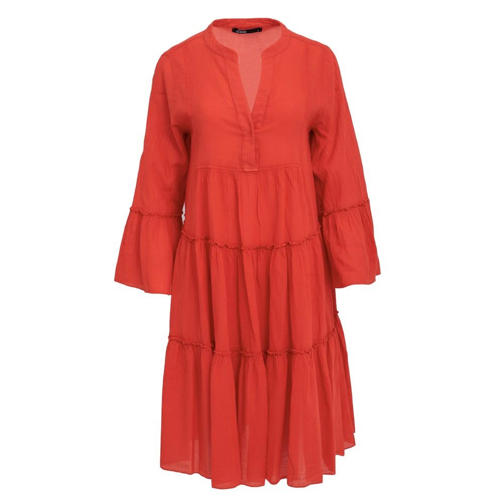 Ella Midi Cotton Dress - Red