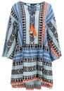 DEVOTION Zakar Embroidered Dress - Blue & Orange