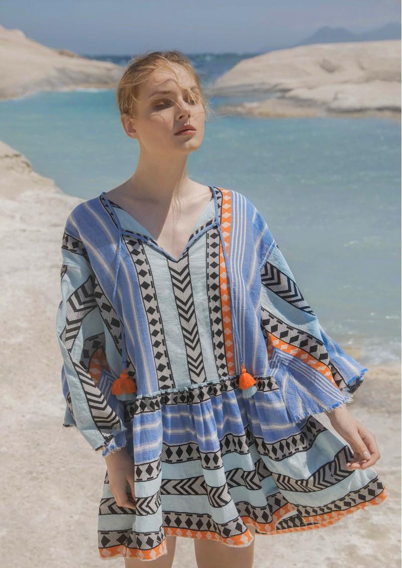 DEVOTION Zakar Embroidered Dress - Blue & Orange main image