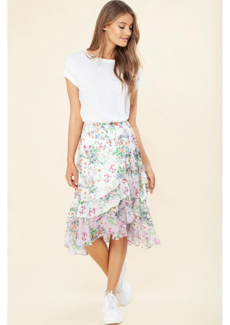 Hale Bob Paola Flounce Wrap Skirt - Ivory main image