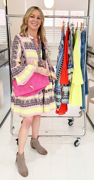 DEVOTION Ella Short Embroidered Dress - Pink & Neon main image