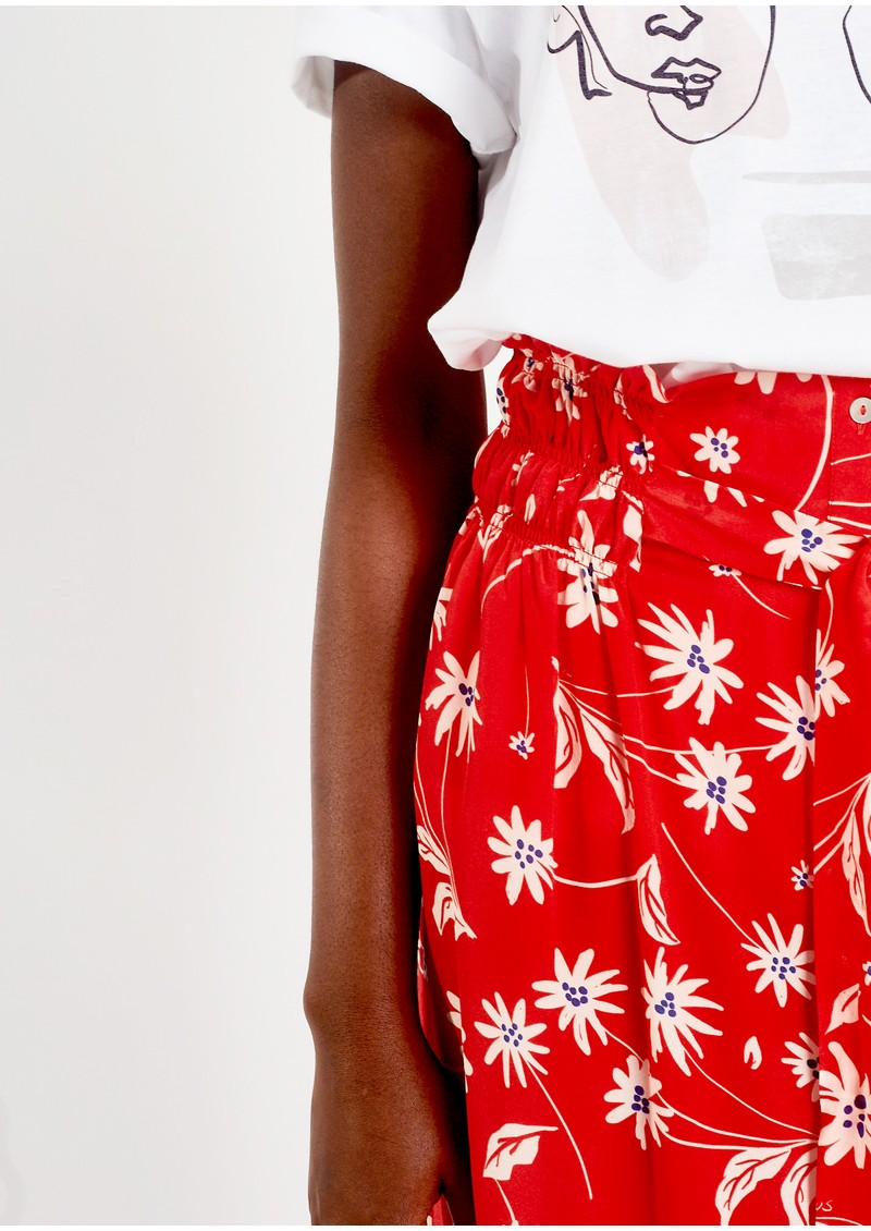 Elise Printed Silk Skirt - Simple Flowers main image