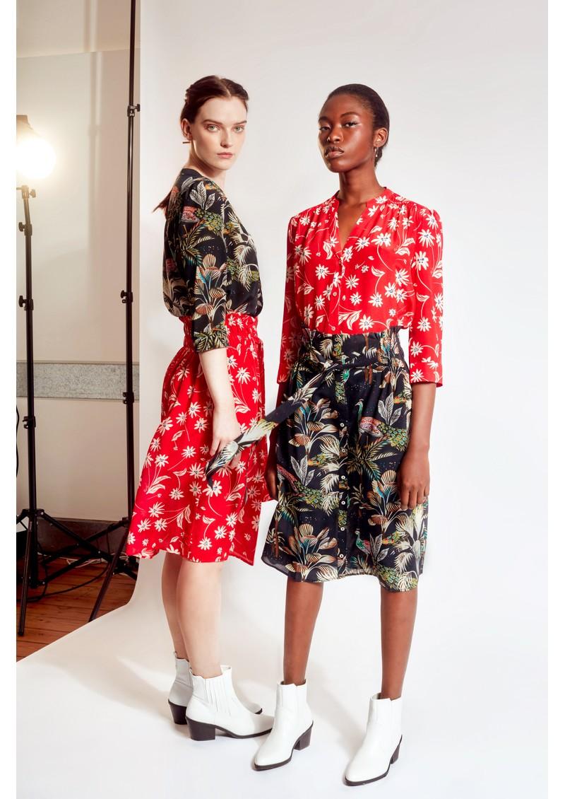 Pyrus Elise Printed Silk Skirt - Simple Flowers main image