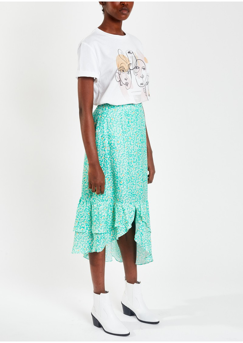 Pyrus Keira Printed Silk Blend Maxi Skirt - Animal Spearmint main image