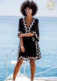 LINDSEY BROWN Paradise Silk Embellished Dress - Black