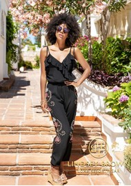 LINDSEY BROWN Casablanca Embellished Jumpsuit - Black