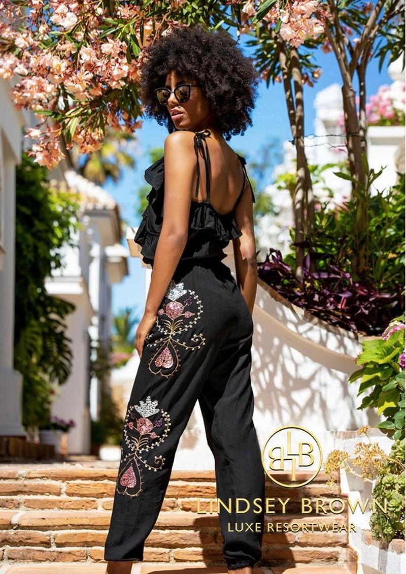 LINDSEY BROWN Casablanca Embellished Jumpsuit - Black main image
