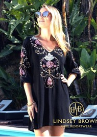 LINDSEY BROWN Madrid Tunic Top - Black