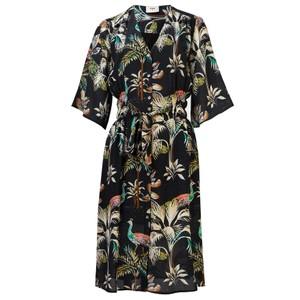 Clemence Printed Silk Dress - Peacocks Navy