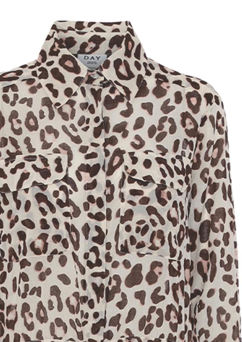 Day Birger et Mikkelsen  Mio Leopard Shirt Dress - Smoke main image