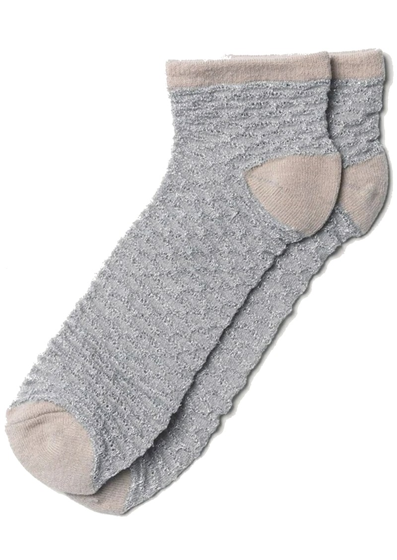 Dollie Waffle Ankle Socks - Silver Grey main image