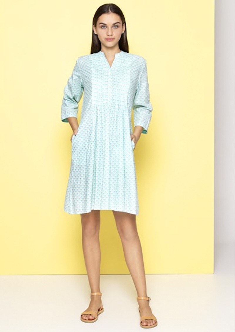 Beverly Dress - Aqua & White main image