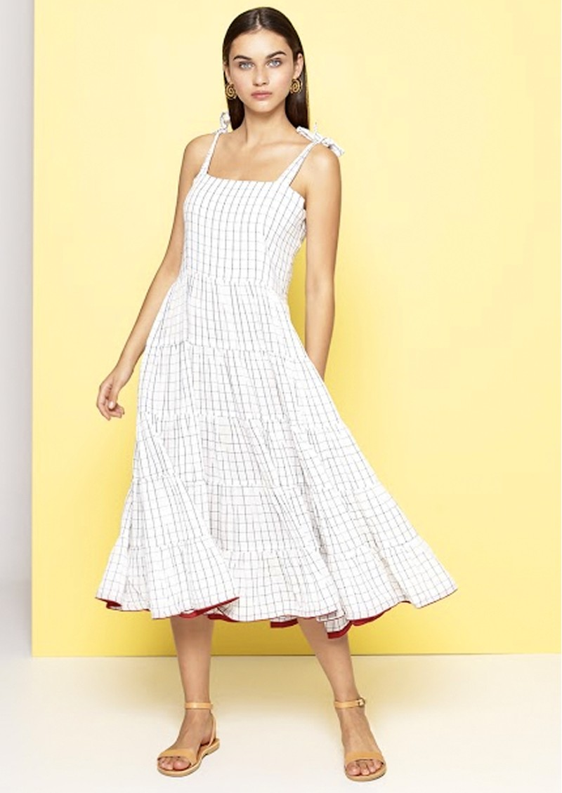 DREAM Tie Strap Cotton Dress - White & Black main image