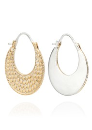 ANNA BECK Signature Crescent Hoop Earrings - Gold & Silver