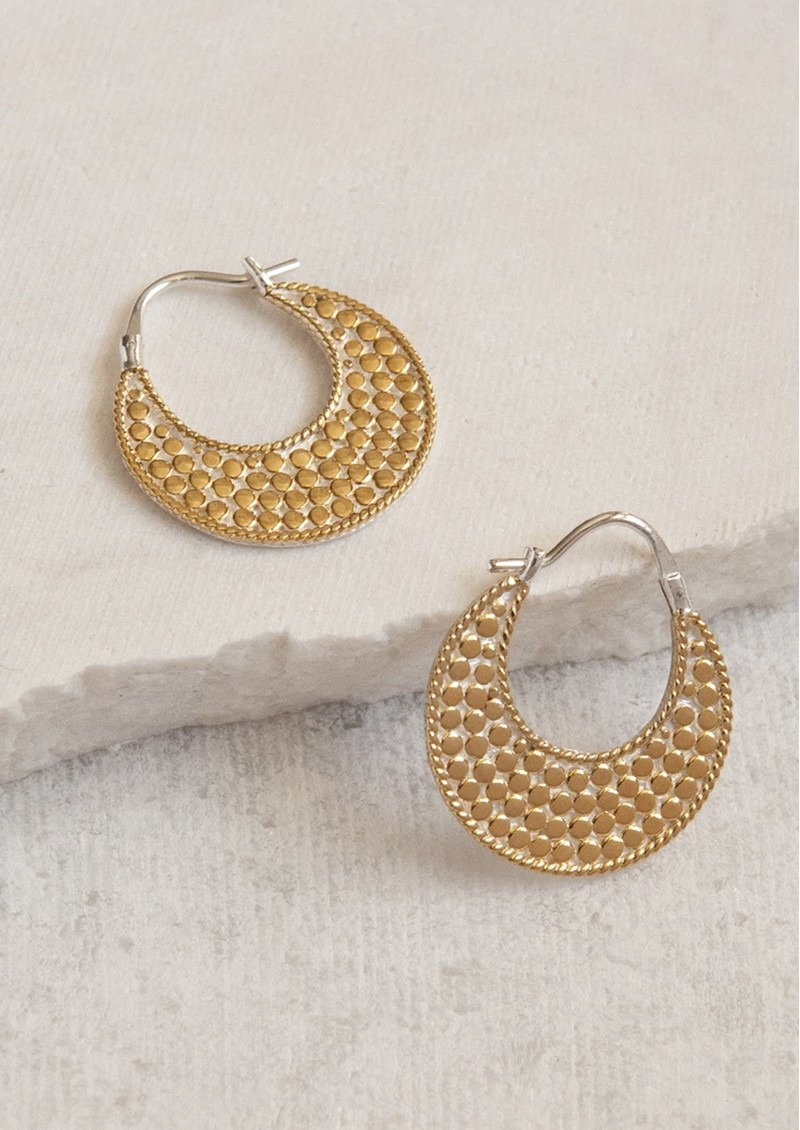 ANNA BECK Signature Crescent Hoop Earrings - Gold & Silver main image