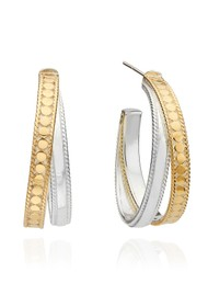 ANNA BECK Signature Crossover Hoop Earrings - Gold & Silver