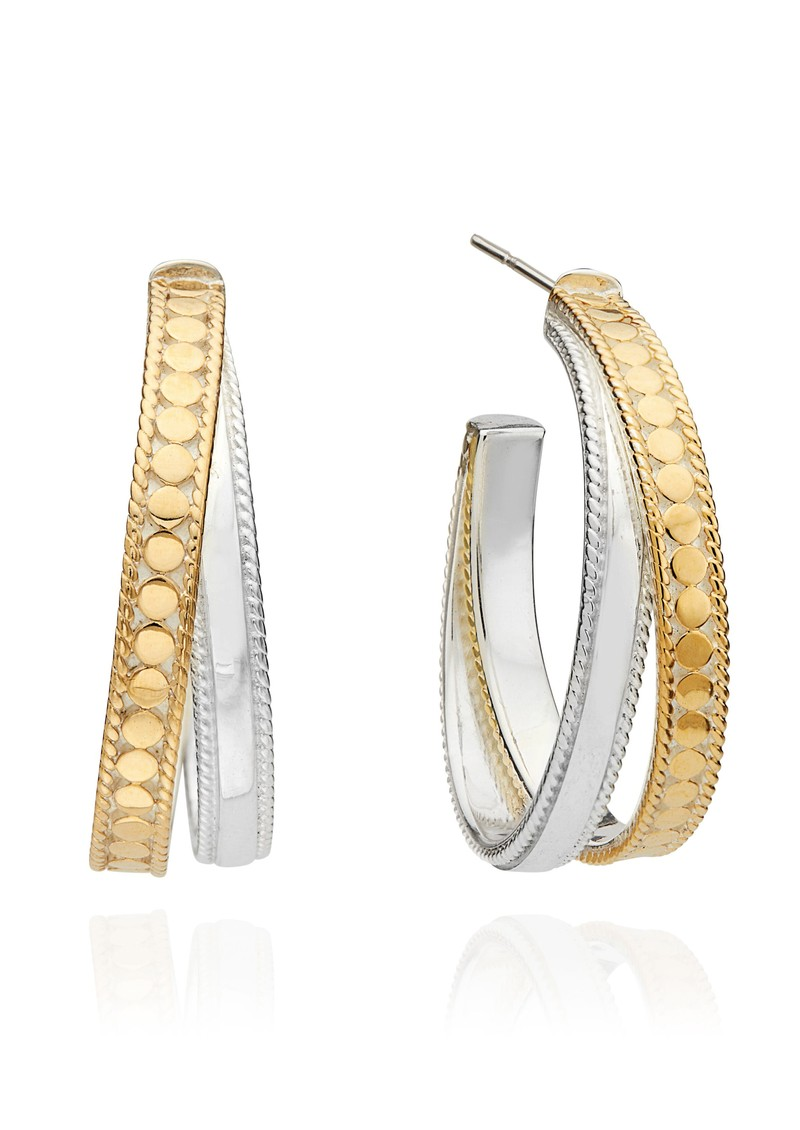 ANNA BECK Signature Crossover Hoop Earrings - Gold & Silver main image