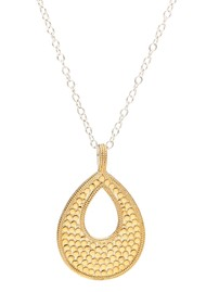 ANNA BECK Signature Reversible Long Open Drop Pendant Necklace - Gold & Silver