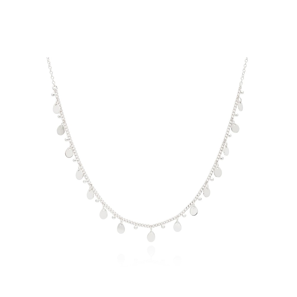 Charm Collar Choker Necklace - Silver