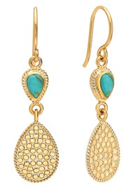 ANNA BECK Solstice Turquoise Double Teardrop Earrings - Gold