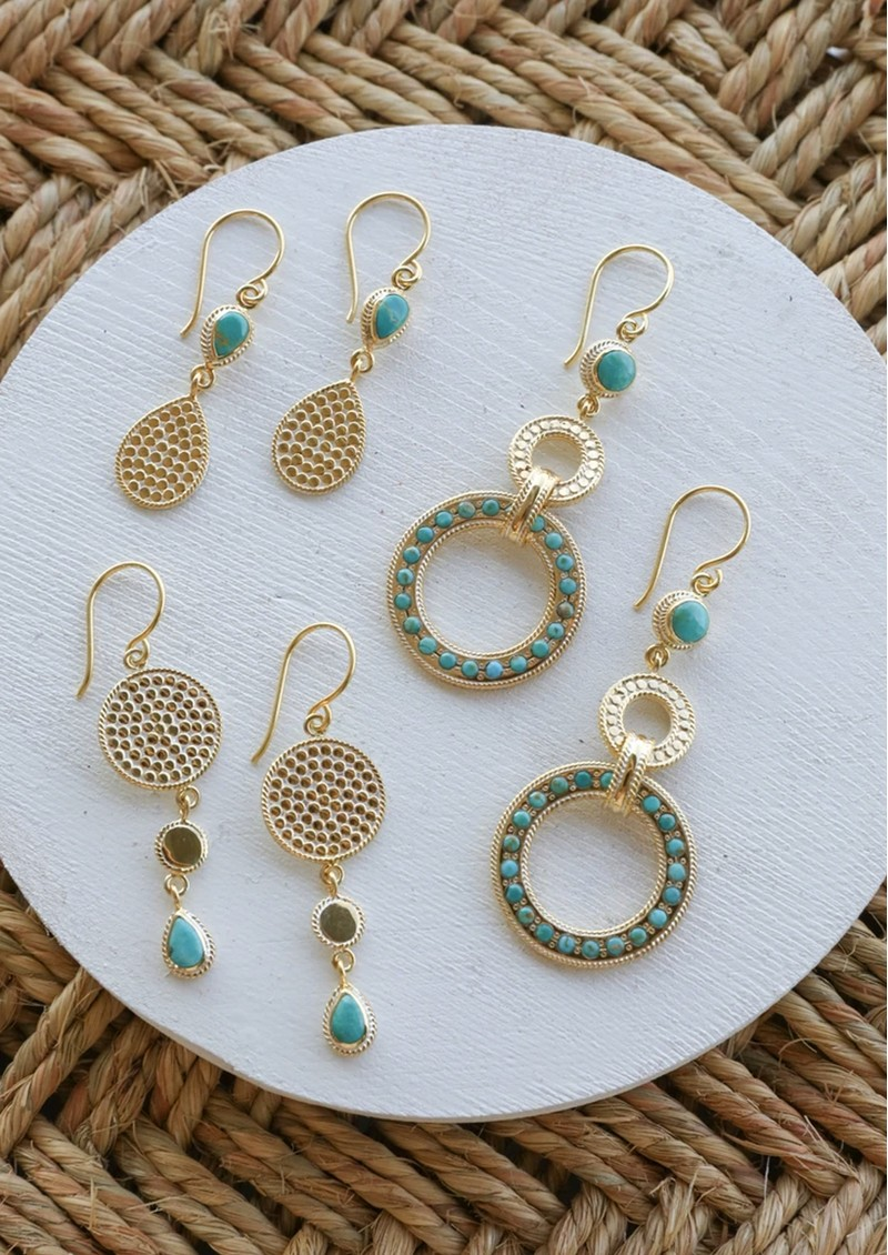 ANNA BECK Solstice  Large Turquoise Pave Triple Drop Earrings - Gold main image