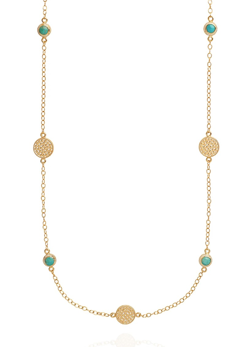 ANNA BECK Solstice Long Turquoise Multi Station Necklace - Gold main image