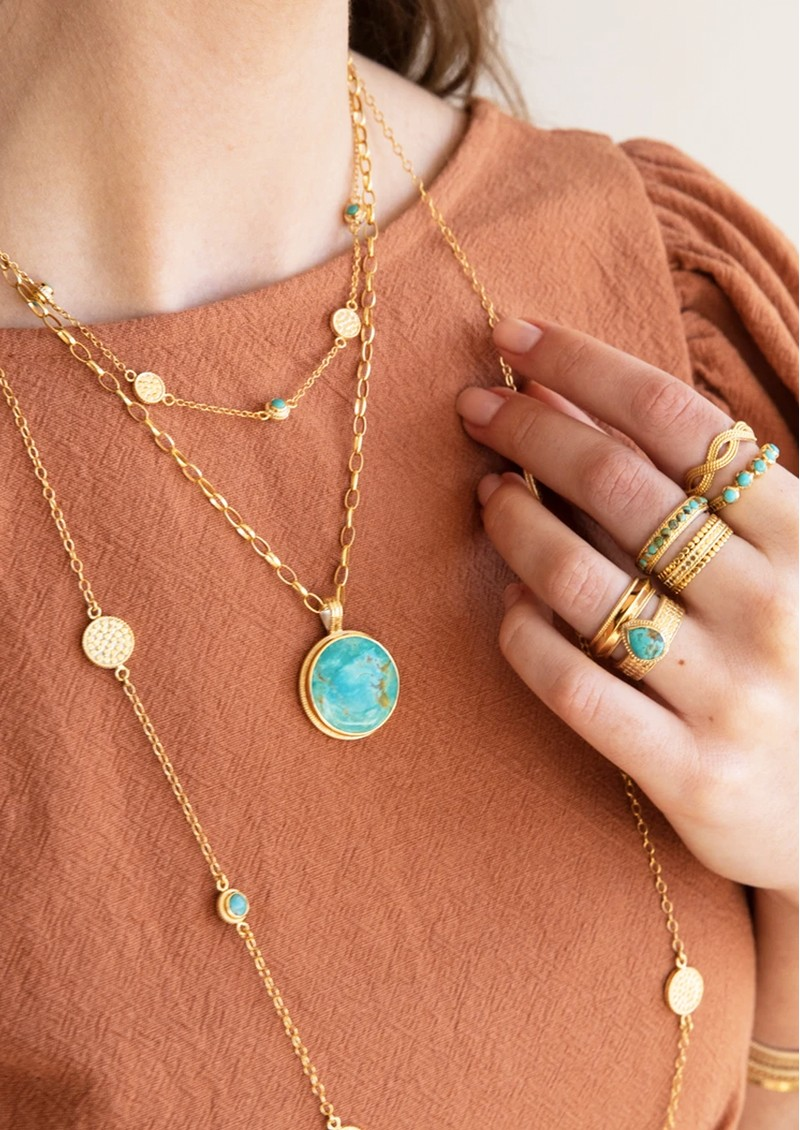 ANNA BECK Solstice Large Turquoise Pendant Necklace - Gold main image