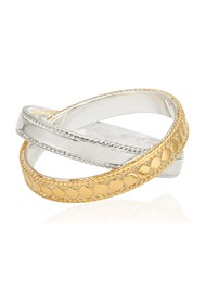 ANNA BECK Signature Mixed Metal Cross Ring - Gold & Silver